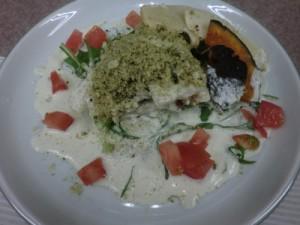 白身魚と野菜のオーブン焼き(わさびクリームソース