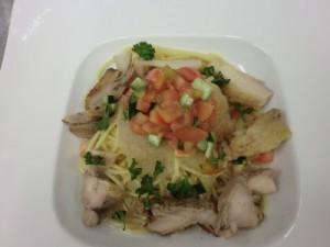 鶏と野菜の冷製パスタ